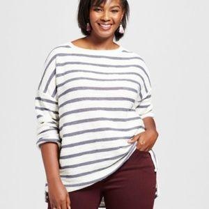 9ba7f73b3f5 Ava   Viv Plus Size Textured Striped Pullover